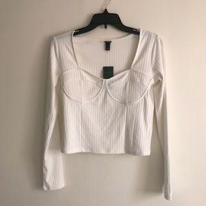 White corset bustier trim long sleeve crop top